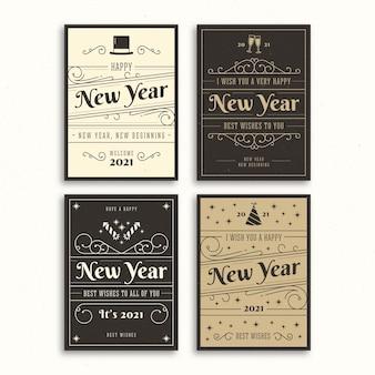 Modèle de cartes vintage nouvel an 2021