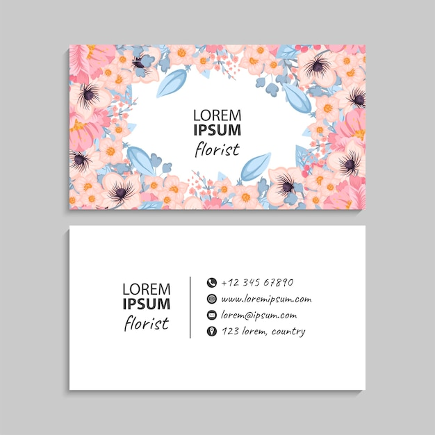 Modèle de cartes de visite abstrait avec des fleurs