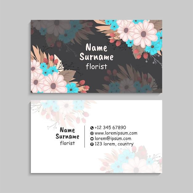 Modèle De Cartes De Visite Abstrait Avec Des Fleurs Vecteur gratuit