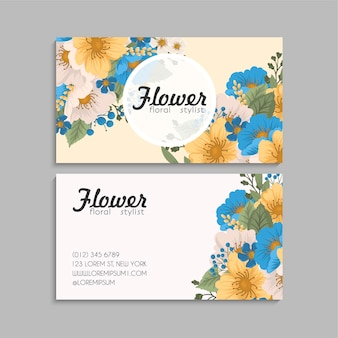 Modèle de cartes de visite abstraites avec des fleurs colorées