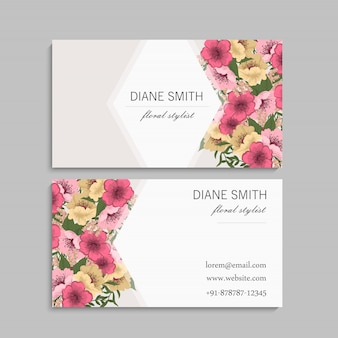 Modèle de cartes de visite fleurs roses et jaunes
