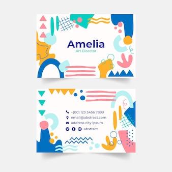 Modèle de cartes de visite de formes abstraites dessinées à la main