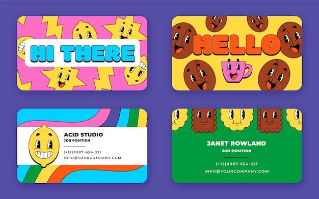 Modèle de cartes de visite horizontales de dessin animé à la mode dessiné à la main