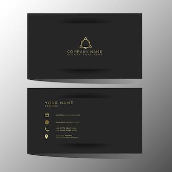 Modèle de cartes de visite de luxe et élégant en or noir