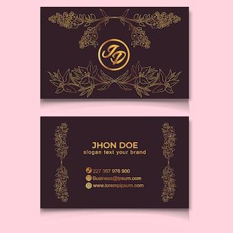 Modèle de cartes de visite de mariage avec ligne de fleurs dorées