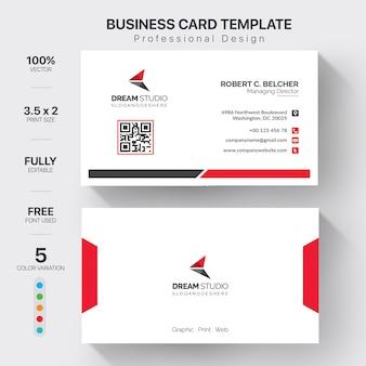 Modèle de cartes de visite modernes avec une variation de 5 couleurs