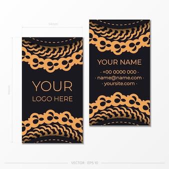 Modèle cartes de visite présentables noires avec cartes de visite d'ornements décoratifs, motif oriental, illustration.
