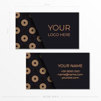 Modèle de cartes de visite présentables noires. ornements décoratifs de carte de visite, motif oriental, illustration. prêt à imprimer, répondre aux besoins d'impression