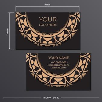Modèle de cartes de visite présentables noires. ornements décoratifs de carte de visite, motif oriental, illustration.