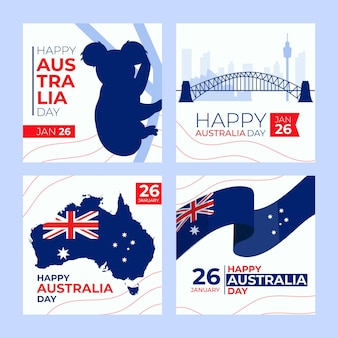 Modèle de cartes de voeux pour le jour de l'australie