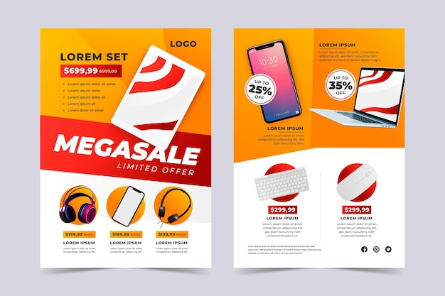 Modèle de catalogue de produits technologiques de couleur dégradée