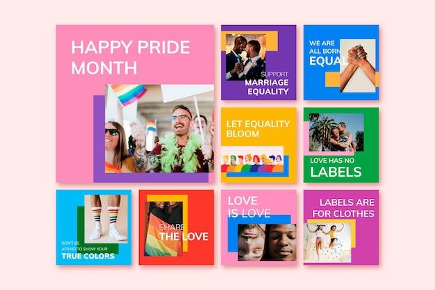 Modèle de célébration du mois de la fierté vecteur les droits lgbtq + prennent en charge la collection de publications sur les réseaux sociaux