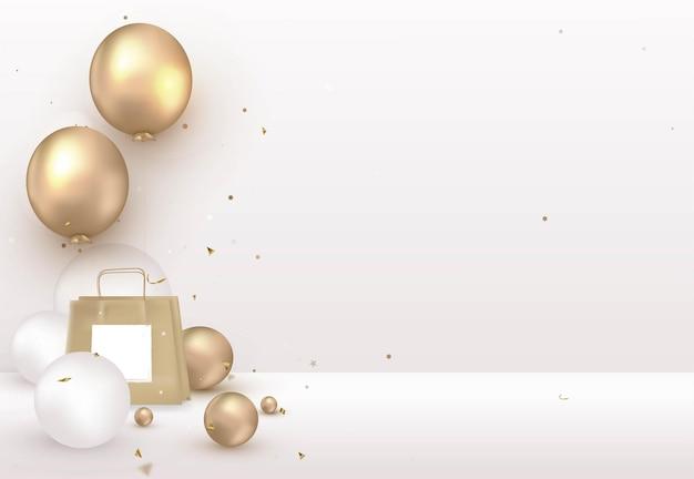 Modèle de célébration avec emballage cadeau ballon hélium