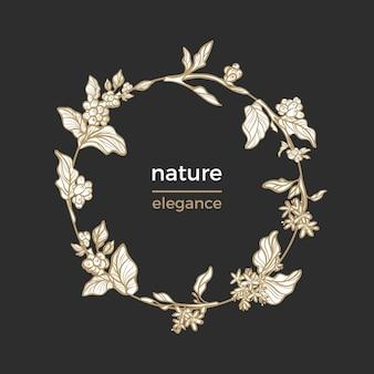 Modèle de cercle avec cadre nature de grains de café branche feuilles fleurs