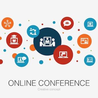 Modèle de cercle à la mode de conférence en ligne avec des icônes simples
