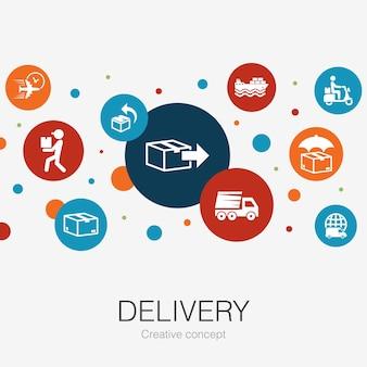 Modèle de cercle à la mode de livraison avec des icônes simples. contient des éléments tels que retour, colis, coursier, livraison express
