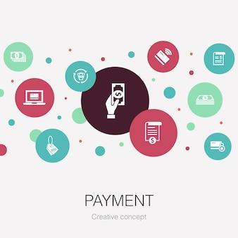 Modèle de cercle à la mode de paiement avec des icônes simples contient des éléments tels que facture d'argent de facture