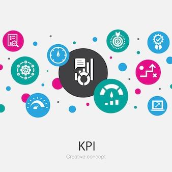 Modèle de cercle tendance kpi avec des icônes simples. contient des éléments tels que l'optimisation, l'objectif, la mesure, l'indicateur