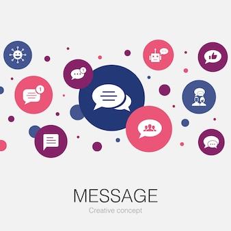 Modèle de cercle tendance de message avec des icônes simples. contient des éléments tels que des emoji, un chatbot, une discussion de groupe, une application de messagerie