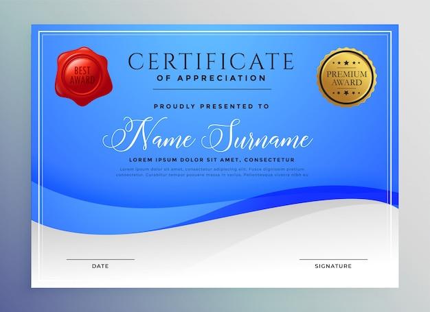 Modèle de certificat abstrait bleu ondulé