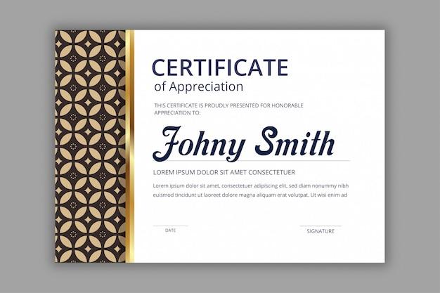 Modèle de certificat abstrait avec modèle sans couture de batik marine