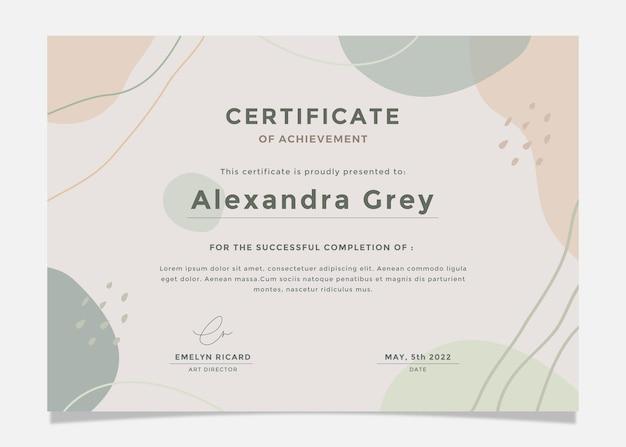 Modèle de certificat abstrait moderne.
