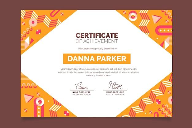 Modèle de certificat académique moderne design plat