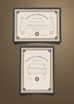 Modèle de certificat avec ancien style classique et cadre ornemental