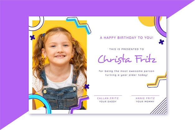Modèle de certificat d'anniversaire