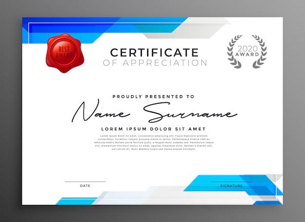 Modèle de certificat d'appréciation bleu abstrait