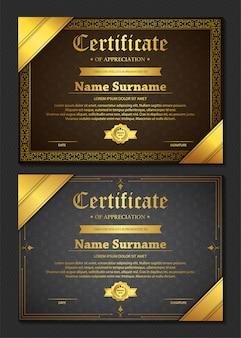 Modèle de certificat d'appréciation avec bordure dorée vintage