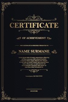 Modèle de certificat d'appréciation avec bordure or vintage