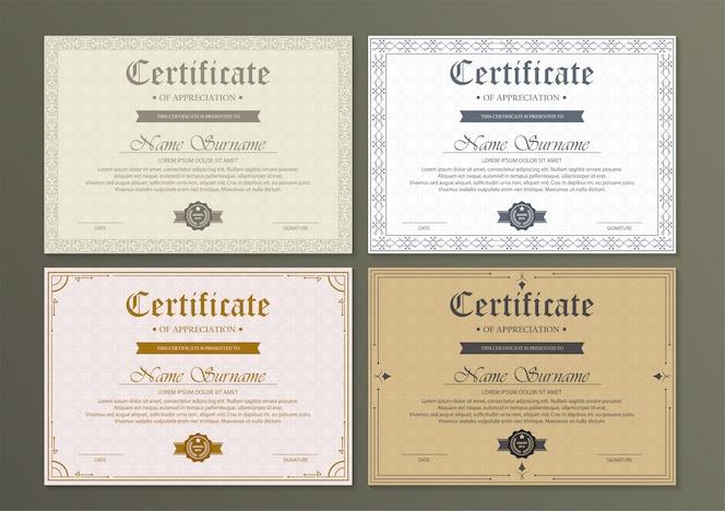 Modèle de certificat d'appréciation avec bordure en or vintage -