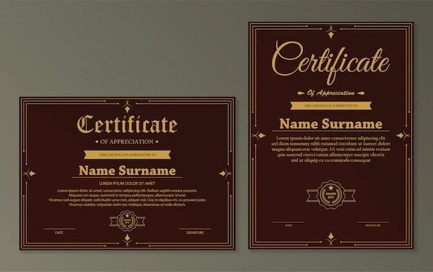Modèle De Certificat D'appréciation Avec Bordure En Or Vintage - Vecteur Premium