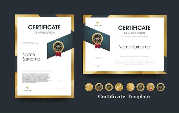 Modèle de certificat d'appréciation et conception de badges premium de luxe.