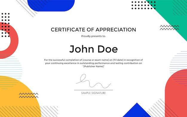 Modèle de certificat d'appréciation avec conception de style abstrait géométrique memphis