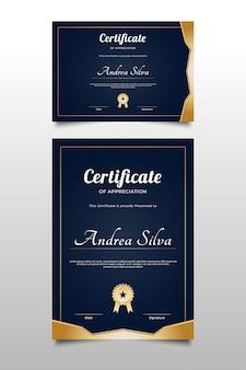 Modèle de certificat d'appréciation avec un design élégant
