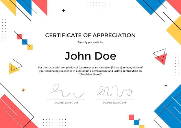 Modèle de certificat d'appréciation avec un design géométrique abstrait de style memphis