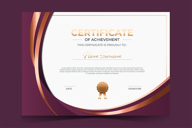 Modèle de certificat d'appréciation de luxe avec style doré