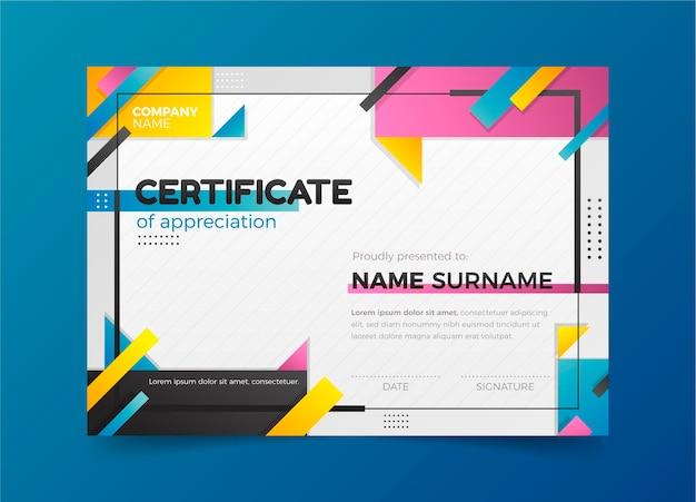 Modèle de certificat d'appréciation moderne dégradé