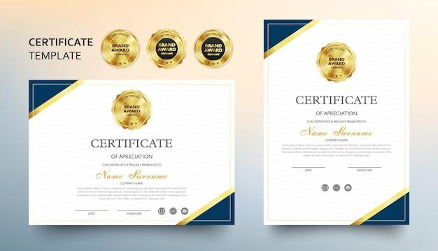 Modèle de certificat d'appréciation avec motif de luxe et moderne, diplôme