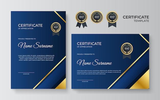Modèle de certificat d'appréciation or et bleu premium, design moderne et épuré avec badge or