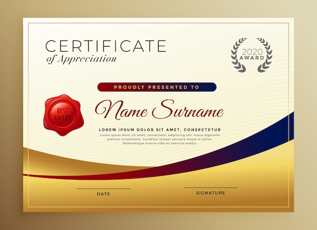 Modèle de certificat d'appréciation en or premium