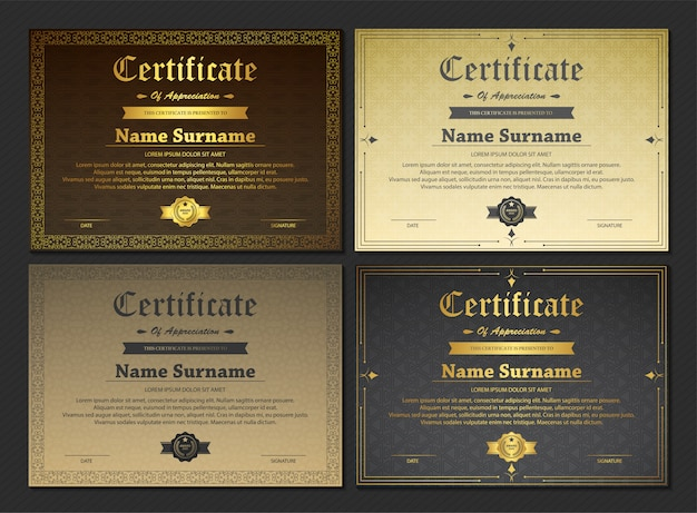 Modèle de certificat d'appréciation avec de l'or vintage