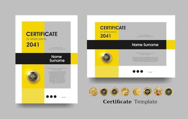 Modèle de certificat d'appréciation et vecteur conception de badges premium de luxe