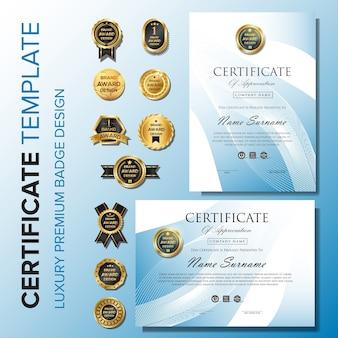 Modèle de certificat avec badge premium premium