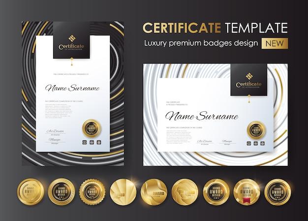 Modèle de certificat avec badges de luxe et premium