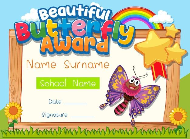 Modèle de certificat avec beautiful butterfly award