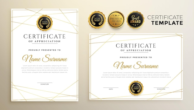 Modèle de certificat blanc élégant avec un design de lignes dorées