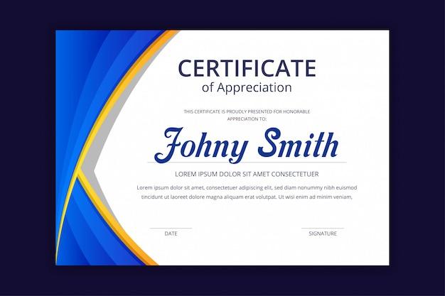 Modèle de certificat bleu coloré moderne abstrait
